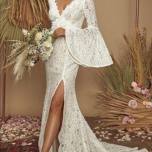 Duchess Ivory Lace Bell Sleeve Maxi Dress
